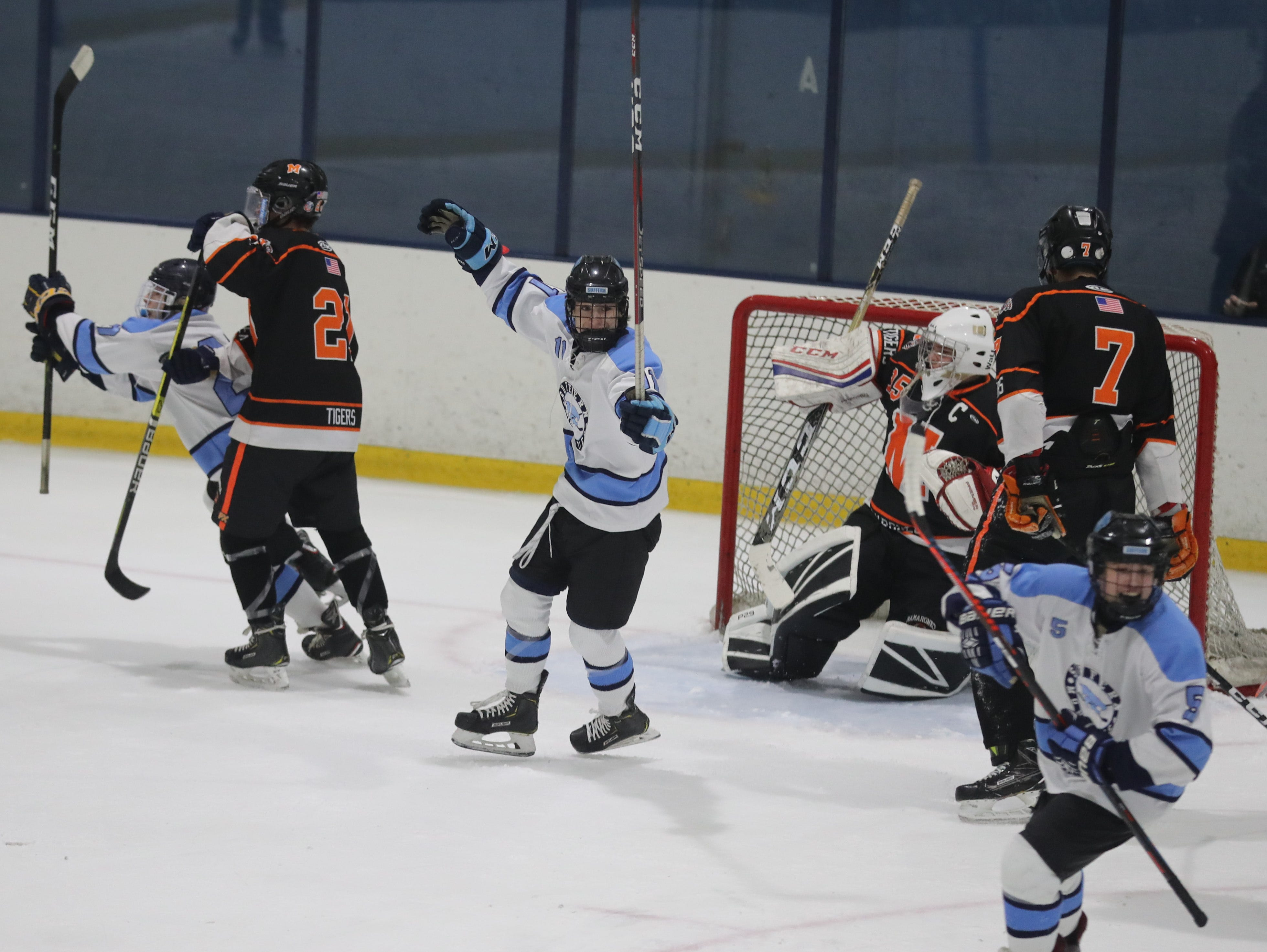 Suffern celebrates a goal against Mamaroneck during the Section 1 Division 1 championship game at Sport-o-Rama in Monsey Feb. 24, 2019. Suffern defeated Mamaroneck 4-1.