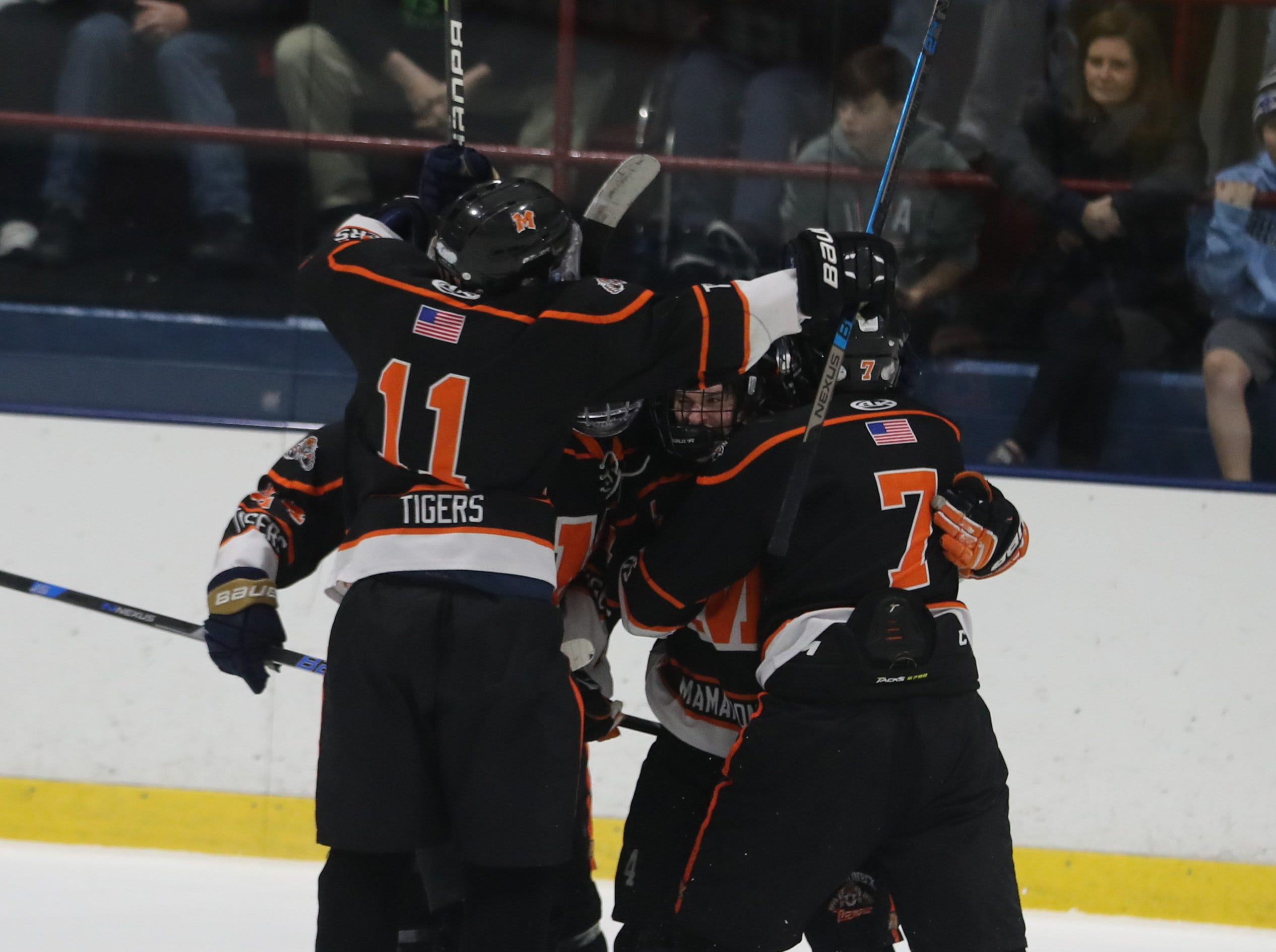 Mamaroneck celebrates after scoring against Suffern in the Section 1 Division 1 championship game at Sport-o-Rama in Monsey Feb. 24, 2019. Suffern defeated Mamaroneck 4-1