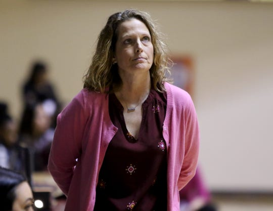 Midwestern State head basketball coach Noel Johnson watches from the sideline in the game against Texas Woman's Saturday, Feb. 23, 2019, in D.L. Ligon Coliseum at MSU Texas.