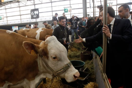 """France's President Emmanuel Macron, right, visits the International Agriculture Fair in Paris, France, Saturday, Feb. 23, 2019. Macron pledged Saturday to protect European farming standards and culinary traditions threatened by aggressive foreign trade practices that see food as a """"product like any other."""""""