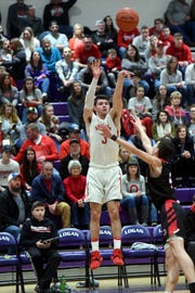 Ethan Heller fires a first-quarter 3-pointer during Sheridan's 64-47 win against Circleville in a Division II sectional final at Logan's Jim Myers Gymnasium. Heller scored a game-high 30 points as the Generals won a second straight sectional title.