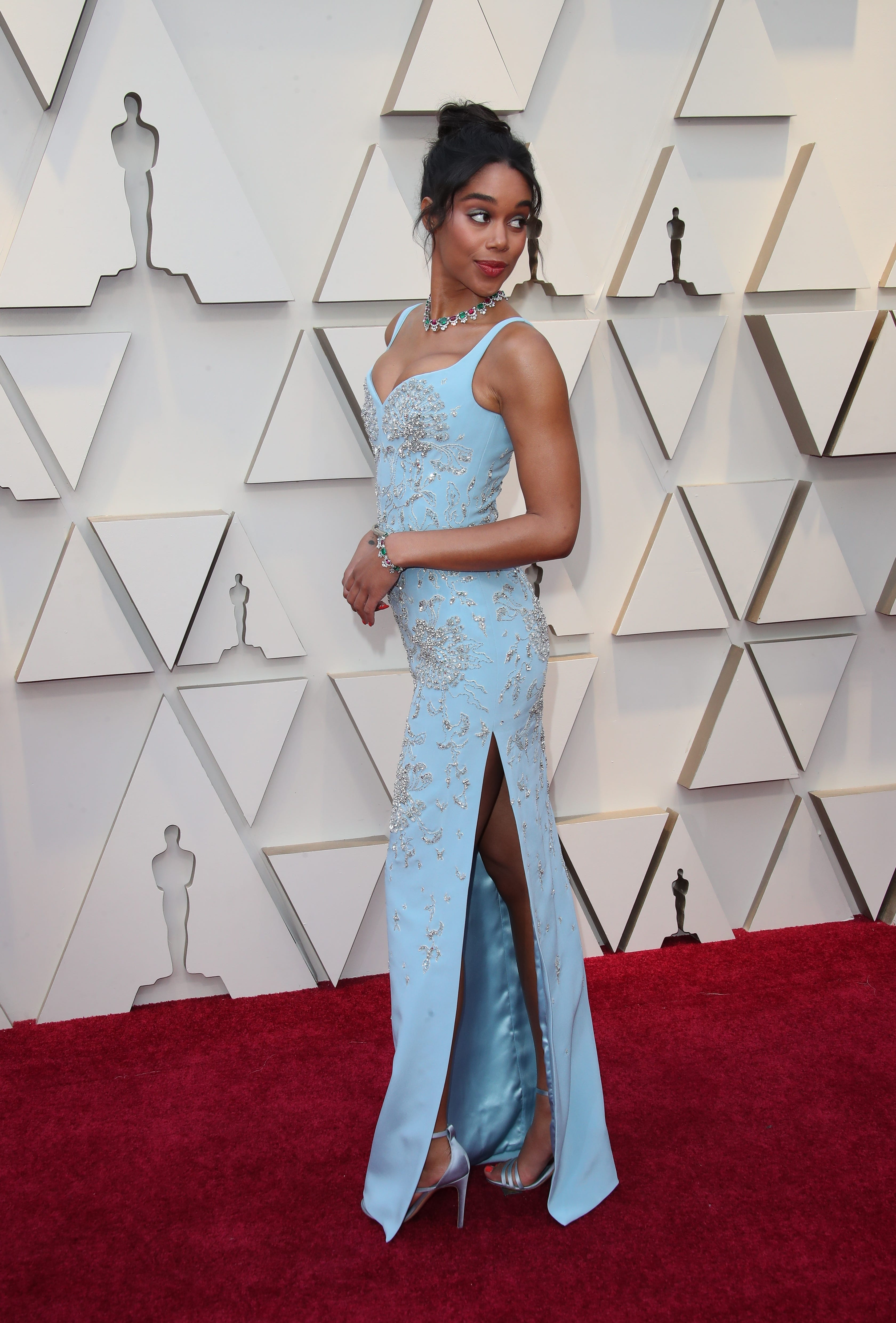 February 24, 2019; Los Angeles, CA, USA; Laura Harrier arrives at the 91st Academy Awards at the Dolby Theatre. Mandatory Credit: Dan MacMedan-USA TODAY NETWORK (Via OlyDrop)