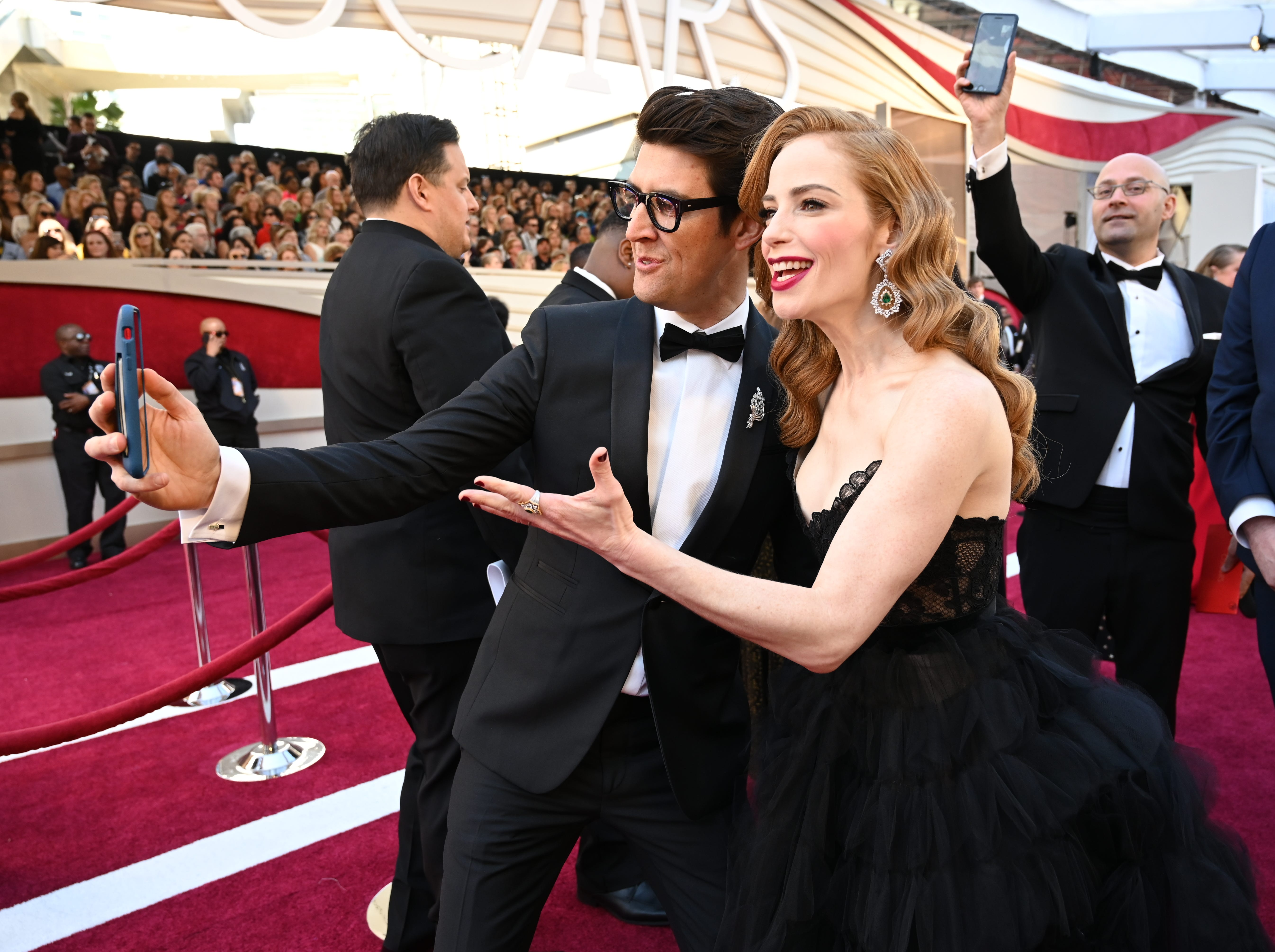 "February 24, 2019; Los Angeles, CA, USA; Guy Nattiv (L) and Jaime Ray Newman nominees for best live action short film for the film ""Skin"" arrive at the 91st Academy Awards at the Dolby Theatre. Mandatory Credit: Robert Hanashiro-USA TODAY NETWORK (Via OlyDrop)"