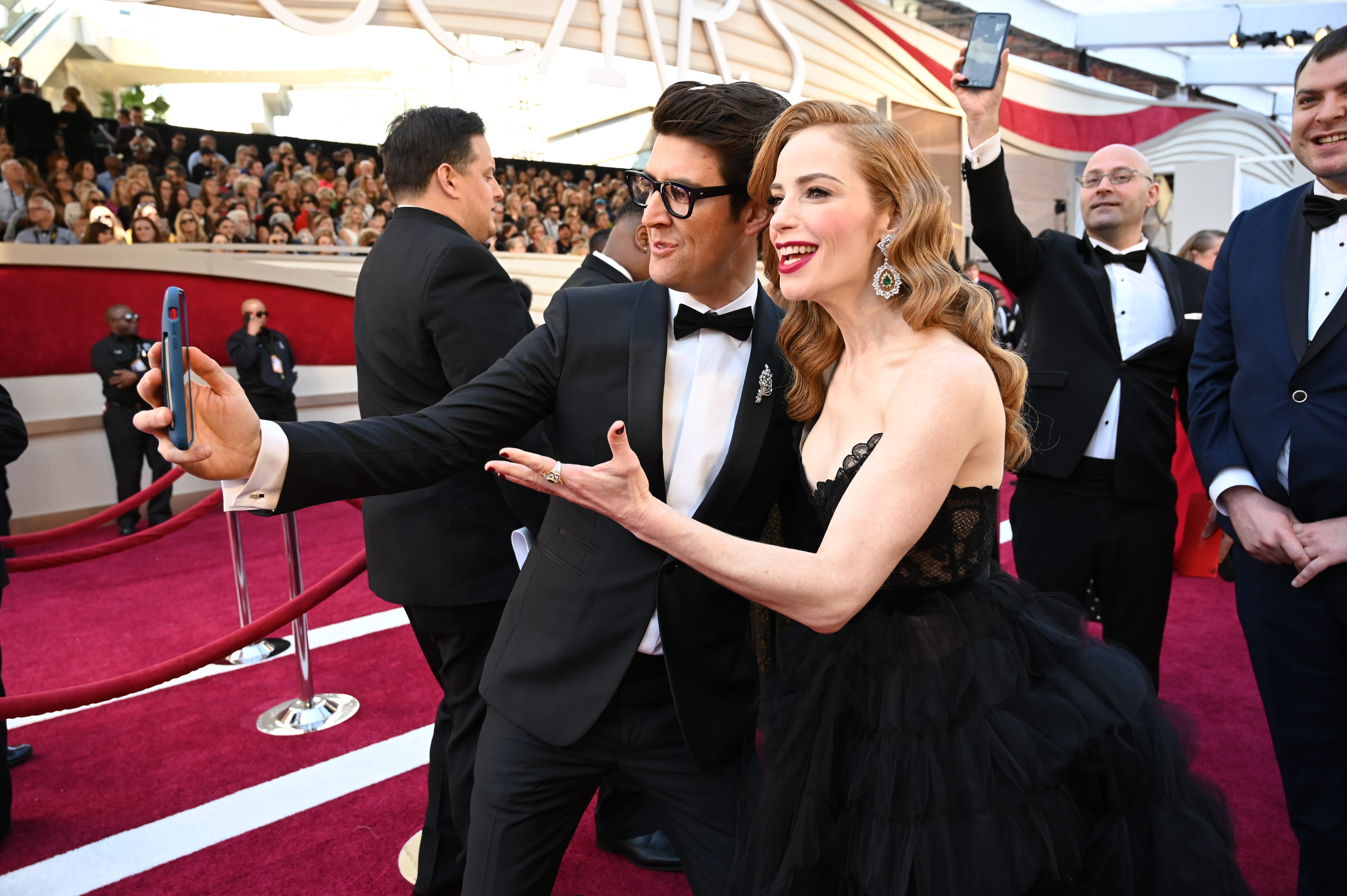 February 24, 2019; Los Angeles, CA, USA; Guy Nattiv (L) and Jaime Ray Newman nominees for best live action short film for the film