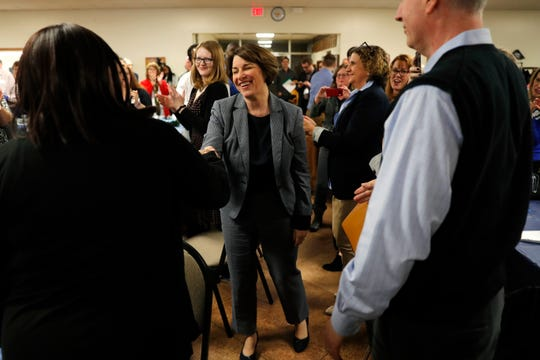 Sen. Amy Klobuchar in Des Moines, Iowa, on Feb. 21, 2019.