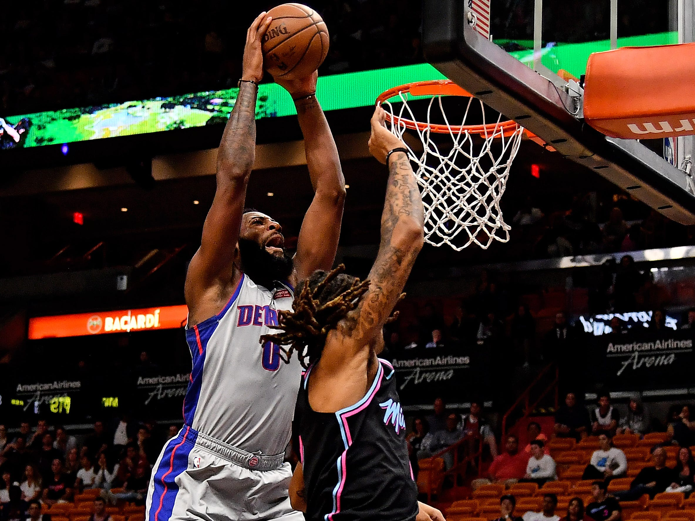 Feb. 23: Pistons center Andre Drummond (0) throws down the monster two-handed flush over Heat defender Emanuel Terry (12).