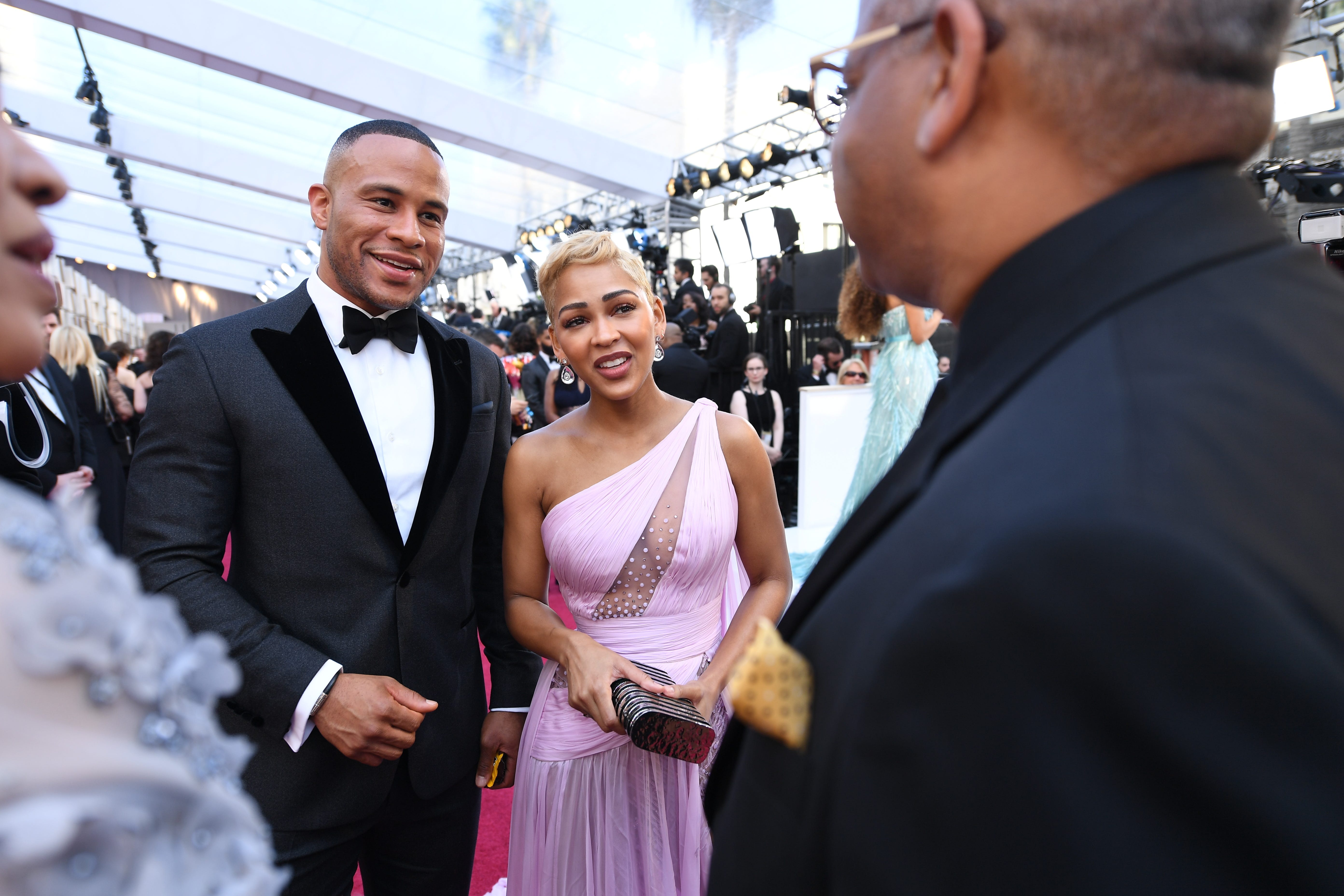 February 24, 2019; Los Angeles, CA, USA; DeVon Franklin (L) and Meagan Good arrive at the 91st Academy Awards at the Dolby Theatre. Mandatory Credit: Robert Hanashiro-USA TODAY NETWORK (Via OlyDrop)