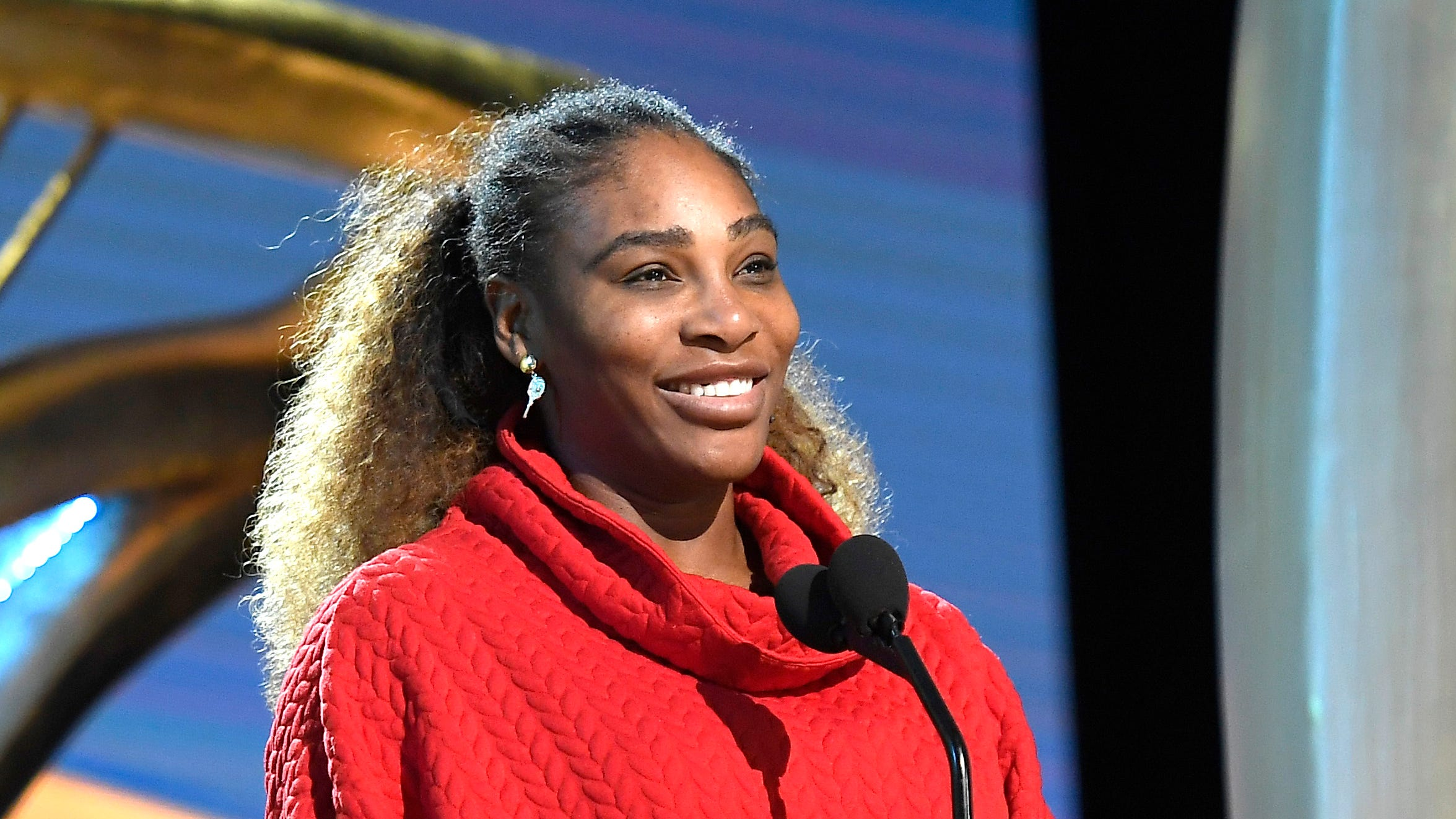 HOLLYWOOD, CALIFORNIA - FEBRUARY 23: Presenter Serena Williams speaks during the 91st Annual Academy Awards rehearsals at Hollywood and Highland on February 23, 2019 in Hollywood, California. (Photo by Kevork Djansezian/Getty Images) ORG XMIT: 775301697 ORIG FILE ID: 1131694888