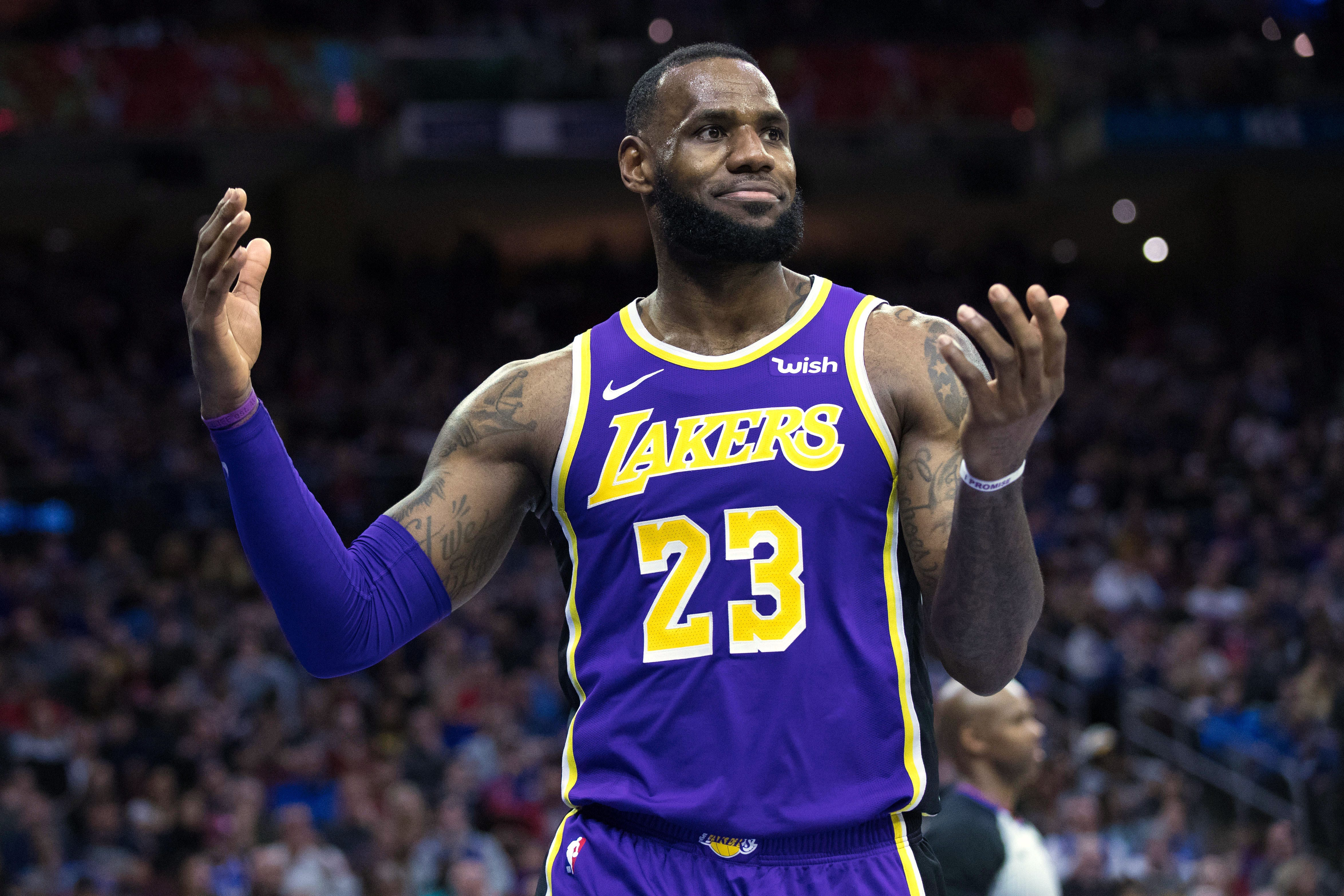 836d9a8a141 Los Angeles Lakers forward LeBron James reacts during a loss to the  Philadelphia 76ers.