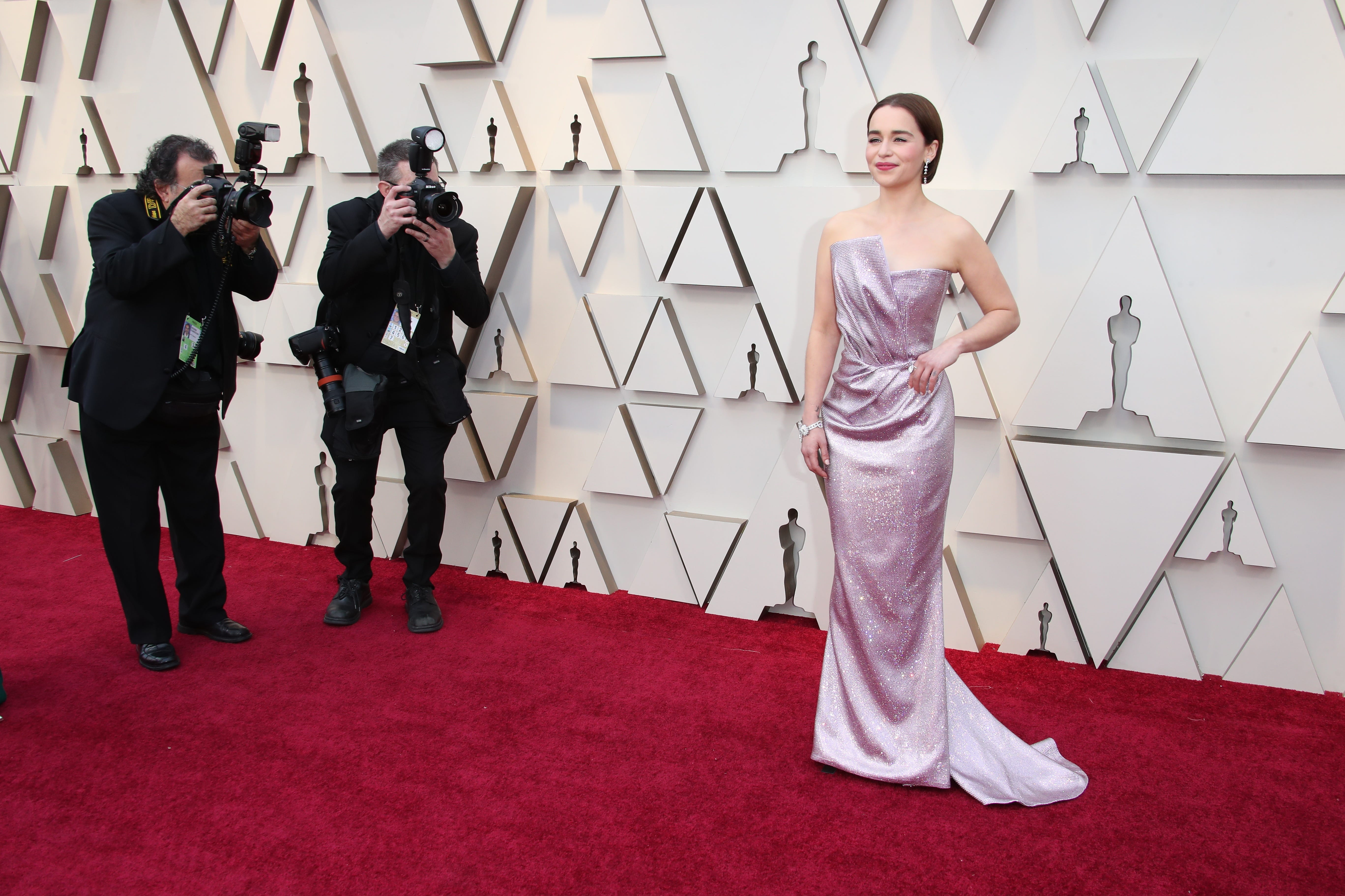 February 24, 2019; Los Angeles, CA, USA; Emilia Clarke arrives at the 91st Academy Awards at the Dolby Theatre. Mandatory Credit: Dan MacMedan-USA TODAY NETWORK (Via OlyDrop)