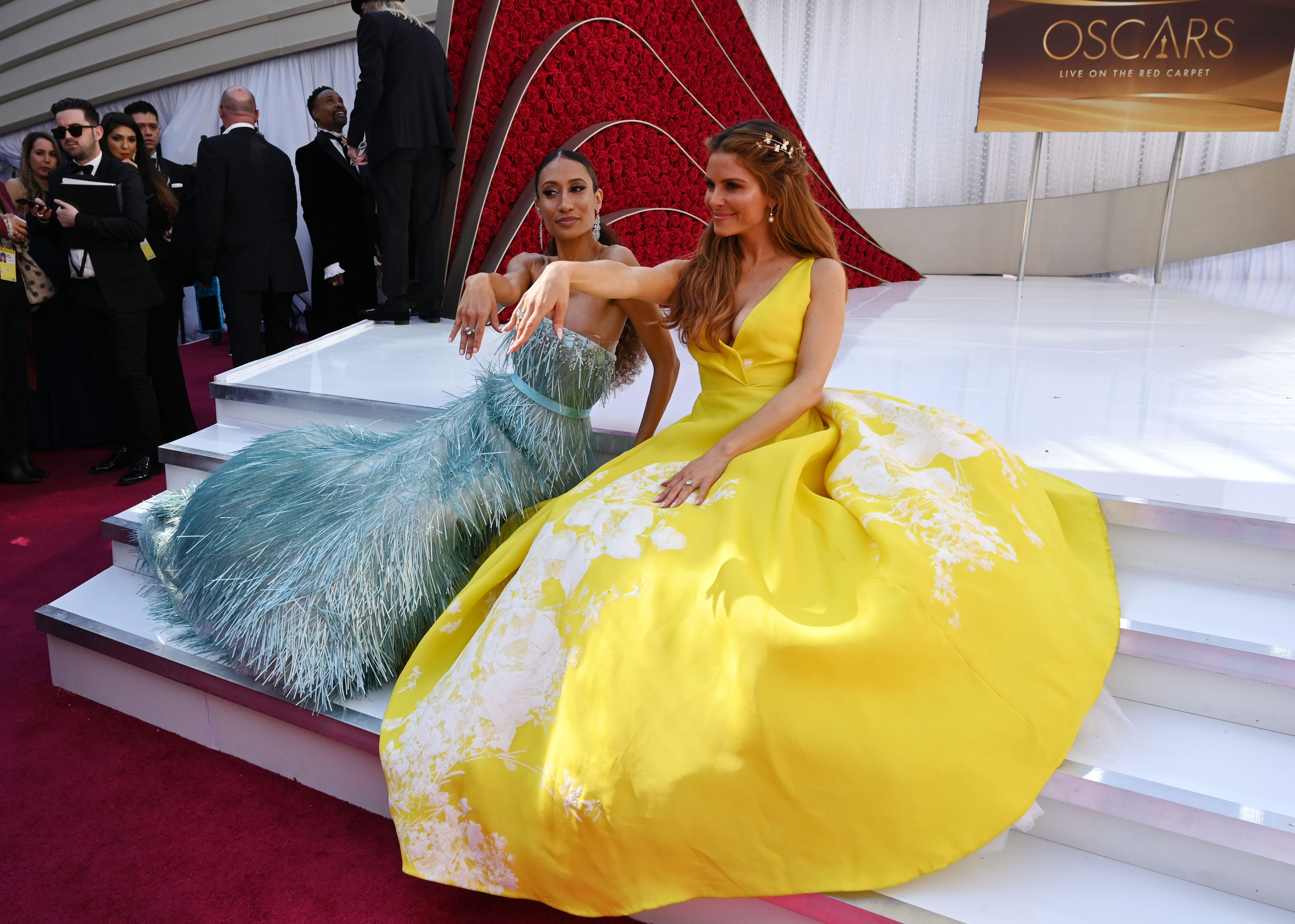 February 24, 2019; Los Angeles, CA, USA; Elaine Welteroth (L) and Maria Menounos pose at the 91st Academy Awards at the Dolby Theatre. Mandatory Credit: Robert Hanashiro-USA TODAY NETWORK (Via OlyDrop)