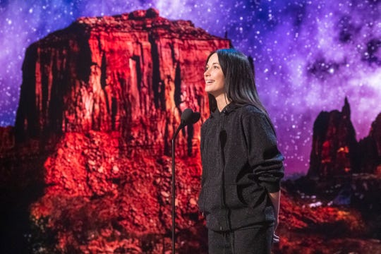 Kacey Musgraves, shown here at Oscars rehearsals, is bringing some country flair to the show Sunday.