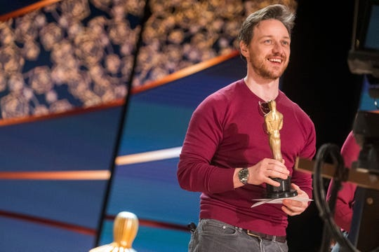 James McAvoy had fun on stage at Oscars rehearsals.