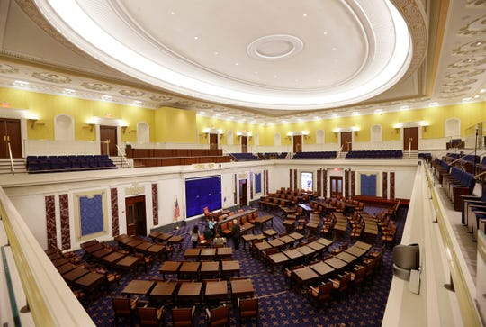 Full-scale replica of the U.S. Senate chamber at the Edward M. Kennedy Institute in Boston on March 23, 2015.
