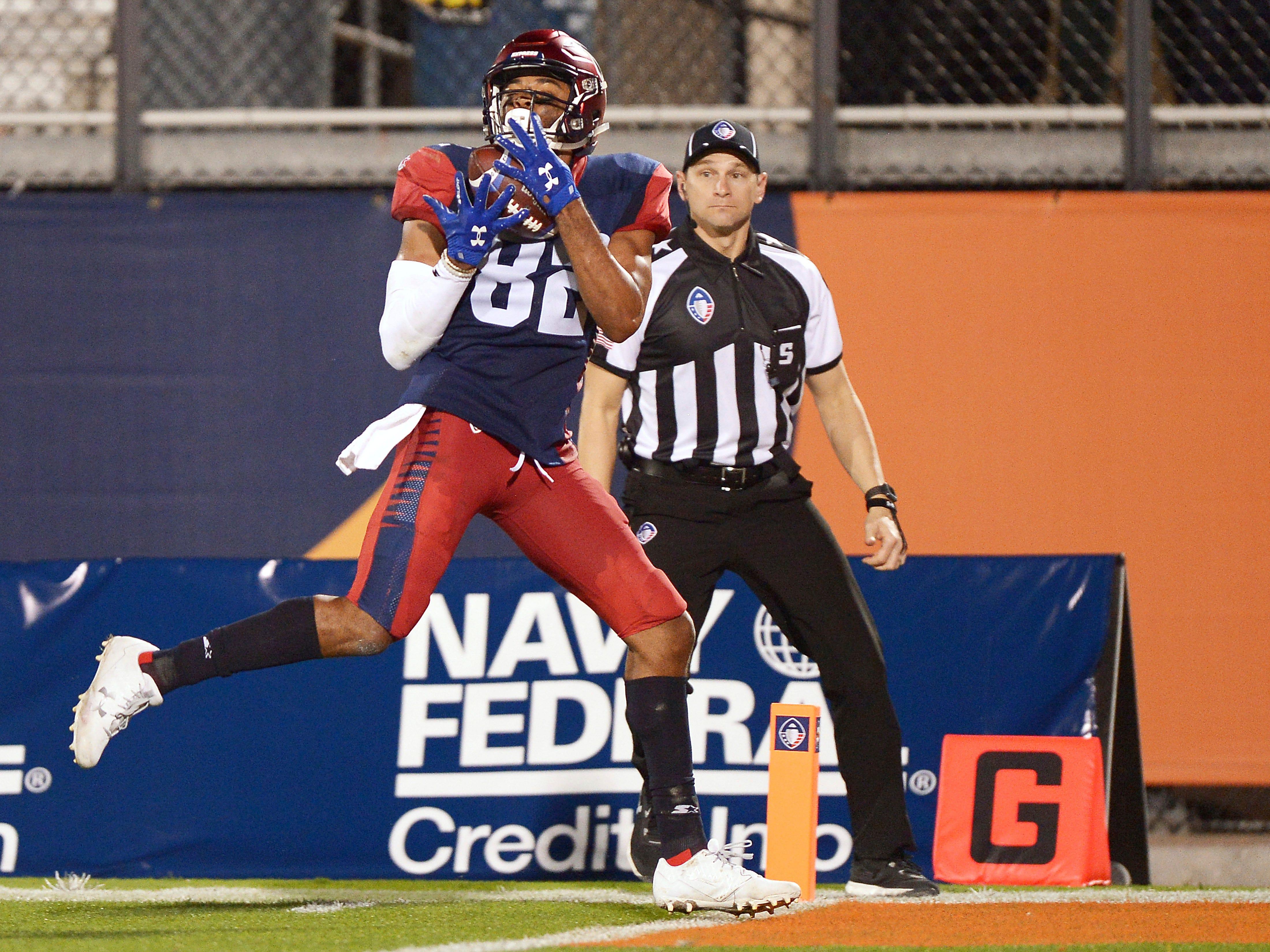 Memphis Express receiver Gerrard Sheppard (82) hauls in a fourth quarter touchdown catch against the Orlando Apollos.