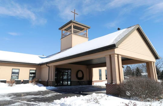 """Gloria Dei Lutheran Church on Monday, February 25, 2019, in Neenah Wis. The church provided shelter after one person was killed and dozens of drivers were stranded following a pileup of more than 100 cars on Interstate 41 on Sunday, February 24, 2019. The """"chain reaction crash"""" occurred during whiteout conditions at 11:10 a.m."""
