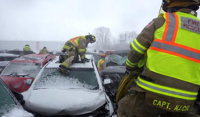 A 131-vehicle crash on Interstate 41 in Winnebago County on Sunday killed one person and injured 71 people.