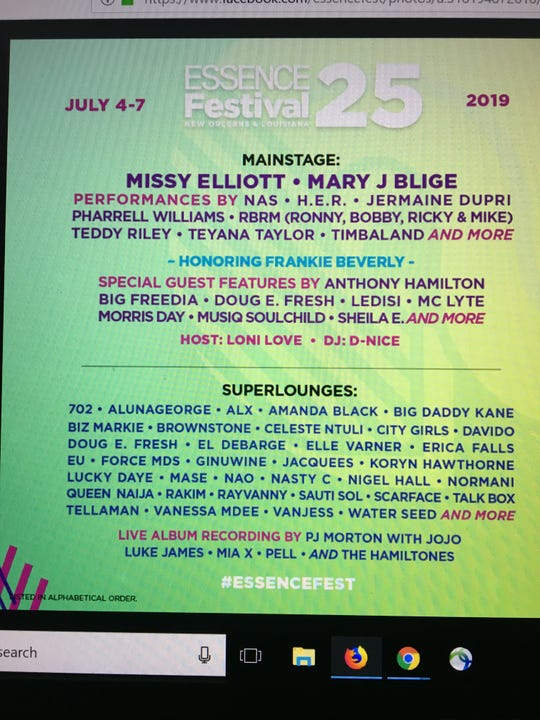 Revised 2019 Essence Festival Lineup