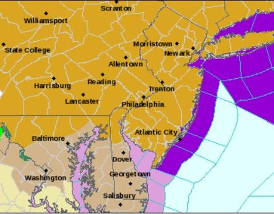 The gold sections of the map were under a high wind warning Monday morning.