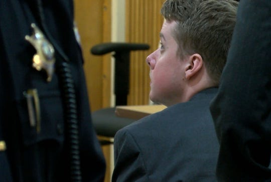 Liam McAtasney is shown as State Superior Court Judge Richard English's courtroom is cleared Monday, February 25, 2019.  The judge had just finished charging the jury considering murder charges against him in the murder of Sarah Stern.