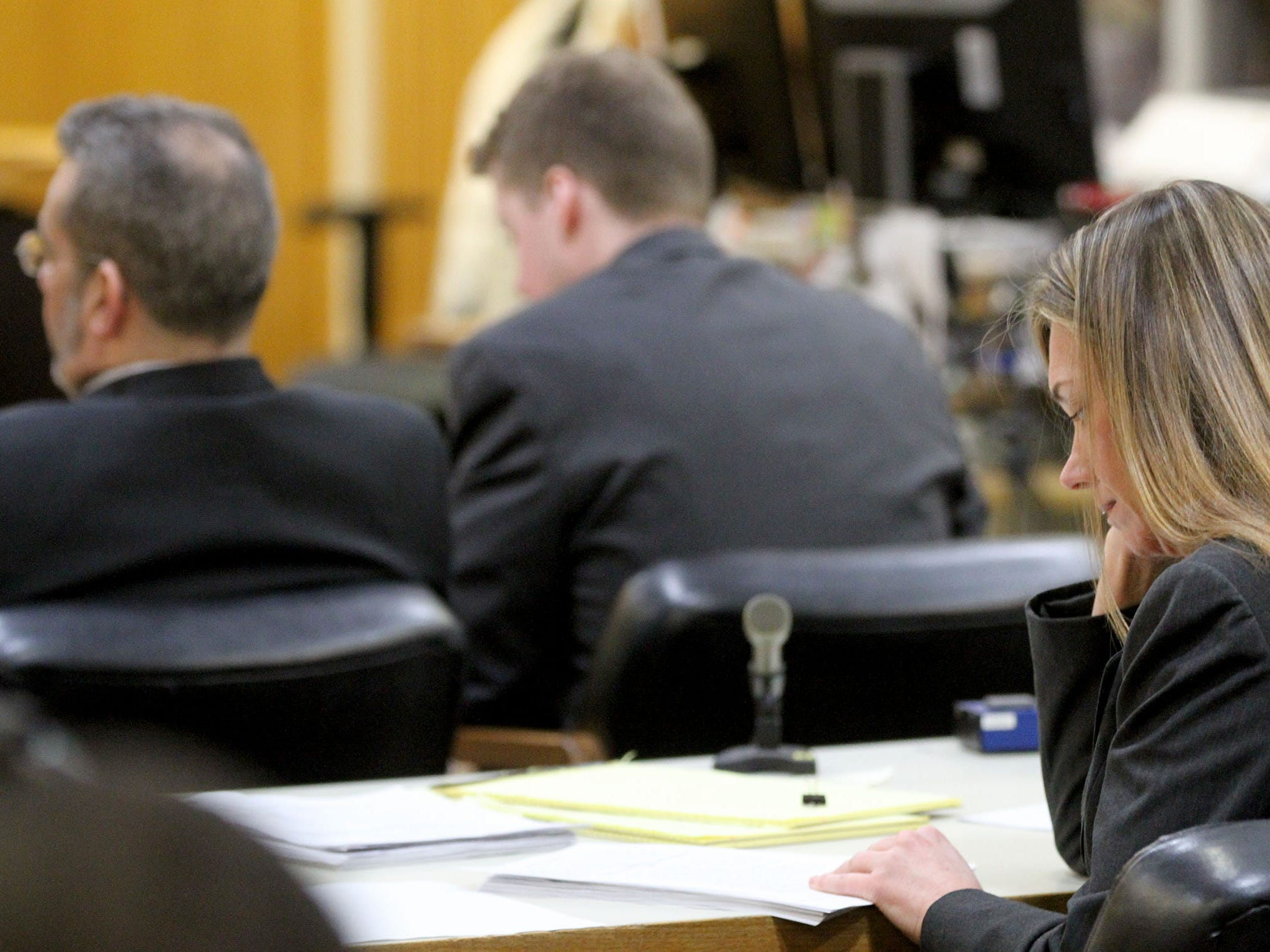 Monmouth County Assistant Prosecutor Meghan Doyle goes over the charging documents before the judge read them to the jury in Freehold Monday, February 25, 2019.  Liam McAtasney is on trial there for the murder of Sarah Stern.