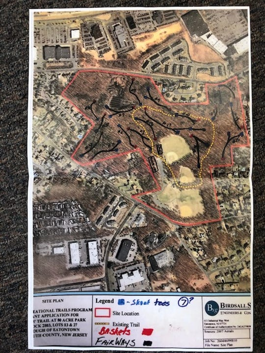The preliminary map of a disc golf course in Eatontown.