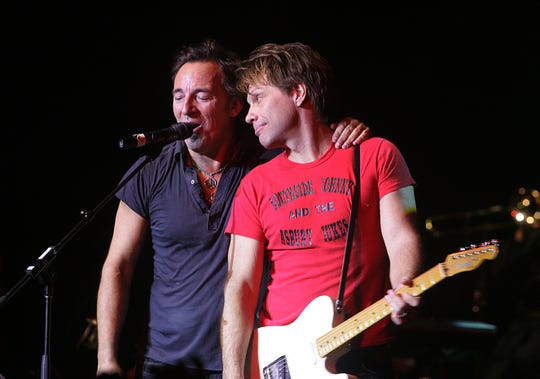 Bruce Springsteen and Jon Bon Jovi perform during  the Hope Concert IV at the Count Basie Theatre in Red Bank, Dec. 22, 2008.