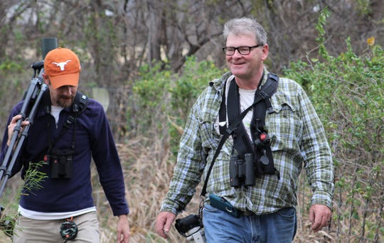 Birders Jay Packer, left, and David Sarkozi seek a good spot to see what they can see during his visit to Taylor County in Feburary.