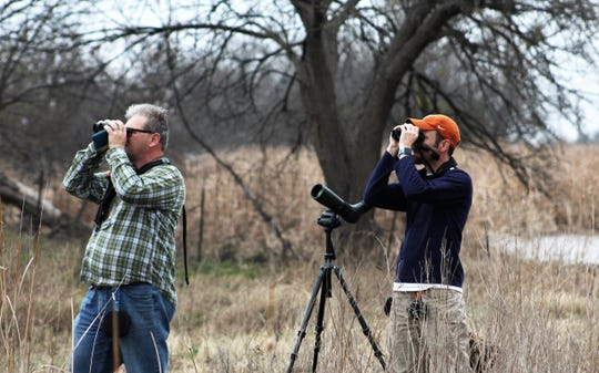 Binoculars can be a birder's best friend in the field; David Sarkozi, left, and Jay Packer look for birds in early February in northeast Abilene.