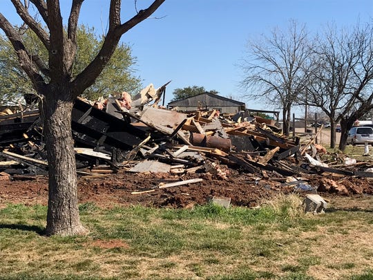 A pile of charred rubble is all that remains of a mobile home in the 4000 block of Santa Barbara Drive that caught fire Saturday, Feb. 23, 2019. All three occupants escaped without injuries.