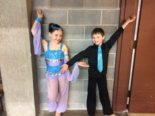 Charleigh and Richard Huxtable pose in their costumes for a dance recital. In addition to ballet, the siblings take jazz and tap lessons.