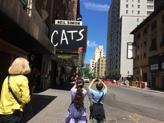 """Charleigh and Richard Huxtable saw """"Cats"""" in New York City. The cast included Claire Rathbun, who will perform with the Huxtable children in the production of """"Peter Pan"""" in Syracuse."""