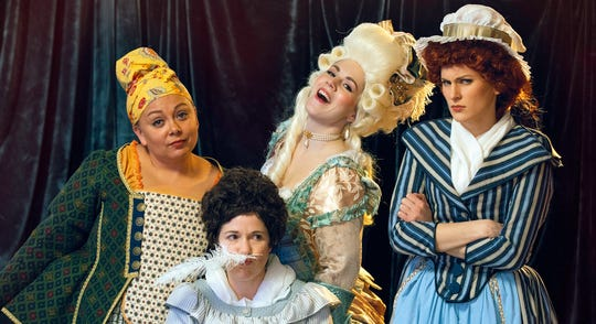 "Marianne Angelle (Kerrie Thornton, from left), Olympe de Gouges (Meg Wolf), Marie Antoinette (Justine Stillwell) and Charlotte Corday (Callie Turner) are brought together in ""The Revolutionists."""