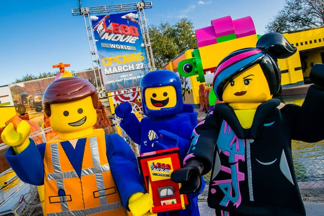 Emmet, Lucy, and Benny help announce THE LEGO® MOVIE™ WORLD opening March 27 at LEGOLAND® Florida Resort.