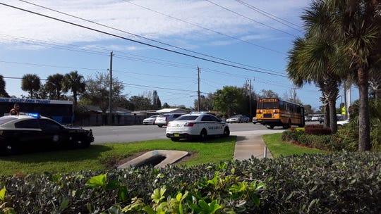 School bus crashes on North Courtenay Parkway in Merritt Island.