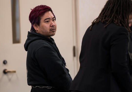 Tyson Cyphers, 37, of Essex Junction, who is listed on Vermont's Sex Offender Registry, appears in Vermont Superior Court on Monday, Feb. 25, 2019. Cyphers is accused of repeatedly raping a female University of Vermont student in her dorm room.