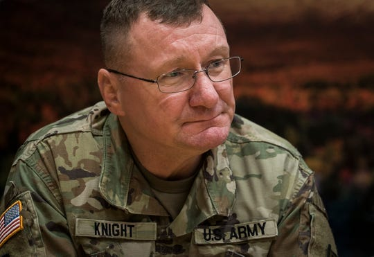 Col. Greg Knight talks with the Free Press on Friday, Feb. 22, 2019, at the Vermont National Guard headquarters in Colchester.