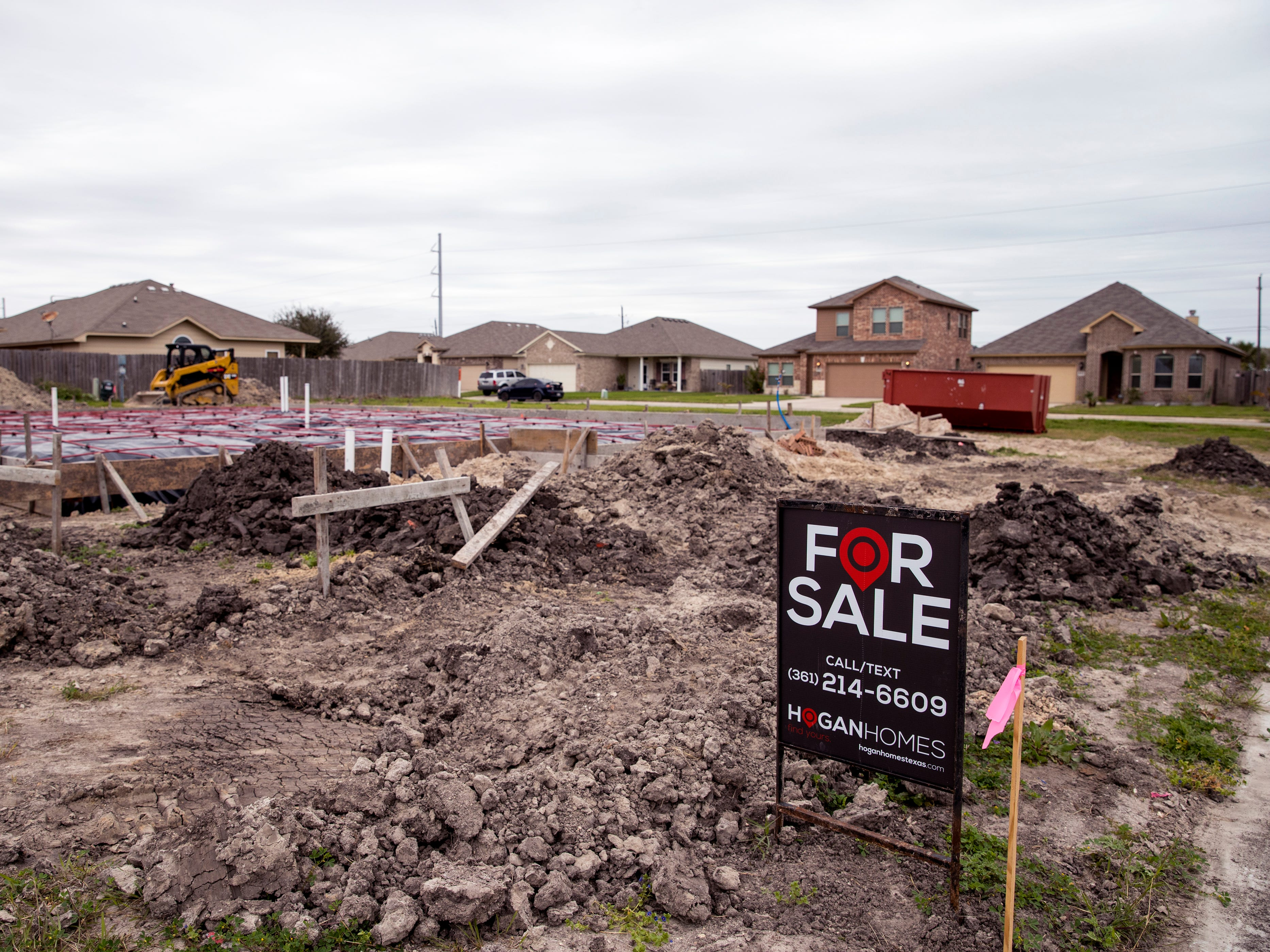 Homes are under construction in a Hogan Homes subdivision on Luz de Luna Street on the Southside on Monday, February 25, 2018.