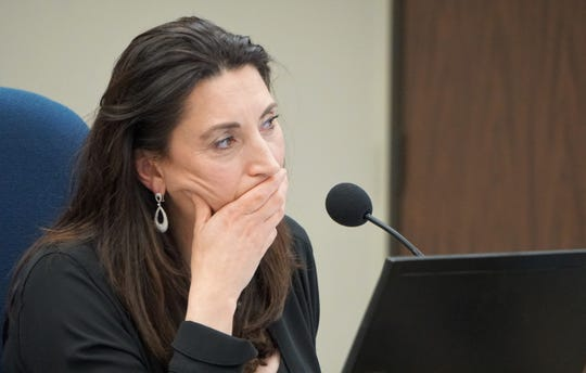 Nueces County Judge Barbara Canales listens to speakers as they address the commissioners court during a Feb. 25, 2019 meeting on an item related to the proposed demolition of the 1914 county courthouse.