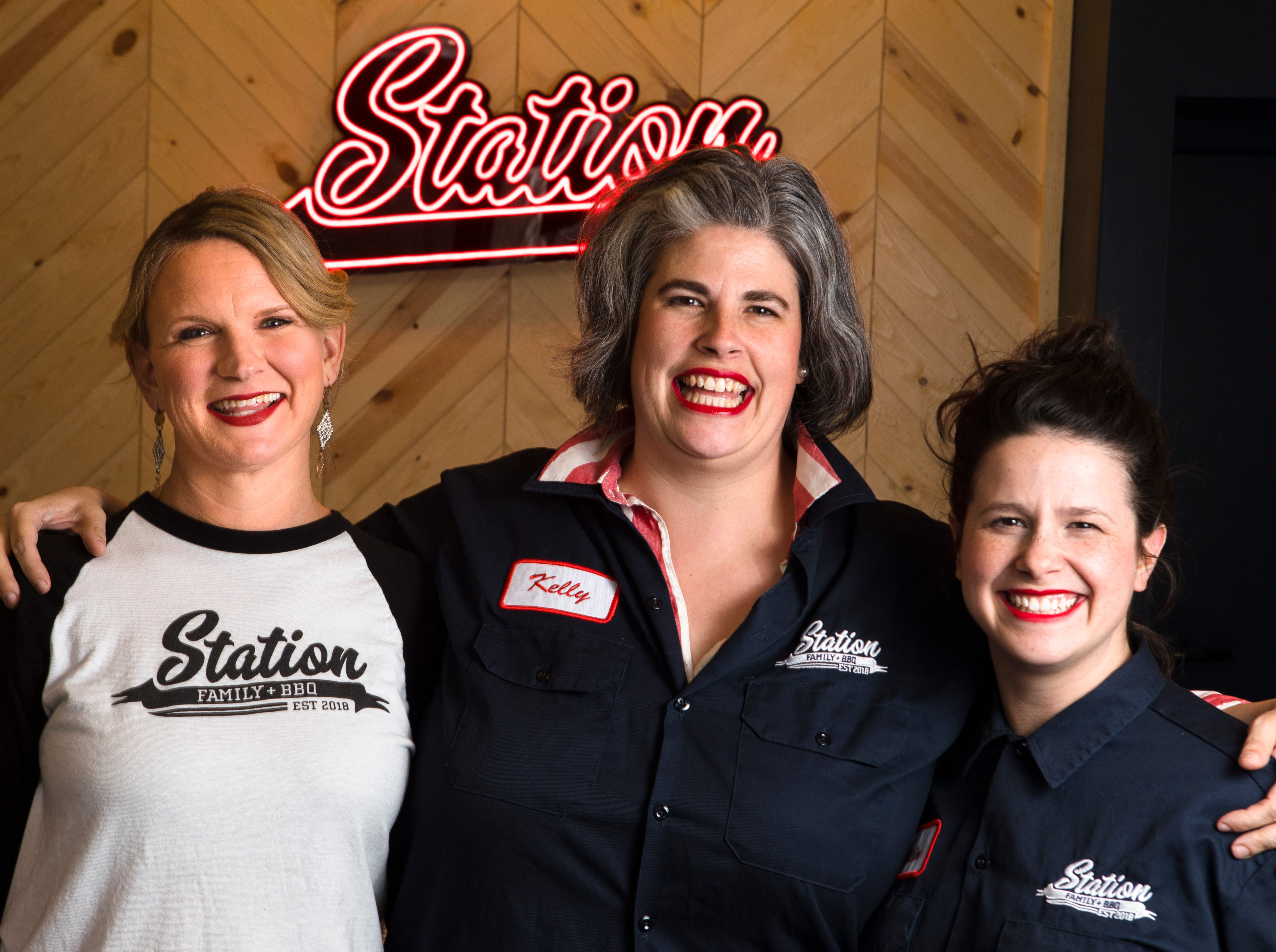Owners of Station Family + BBQ, from left, Karen Klaus, Kelly Trush and Chef Caitlin Steininger stand inside the restaurant in Wyoming on Friday, Feb. 22, 2019.