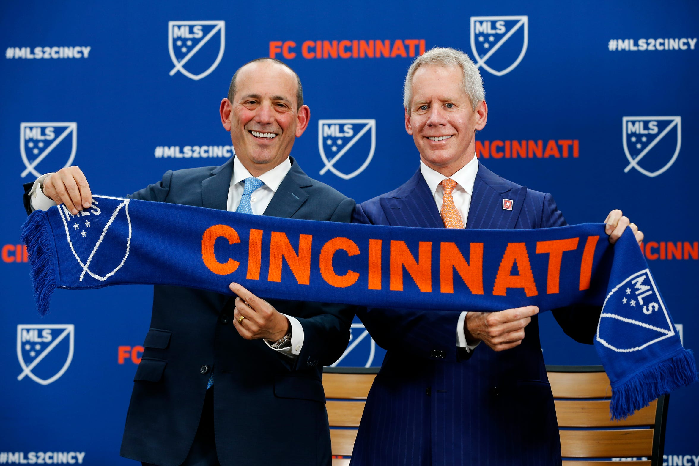 Major League Soccer commissioner Don Garber, left, with Lindner.