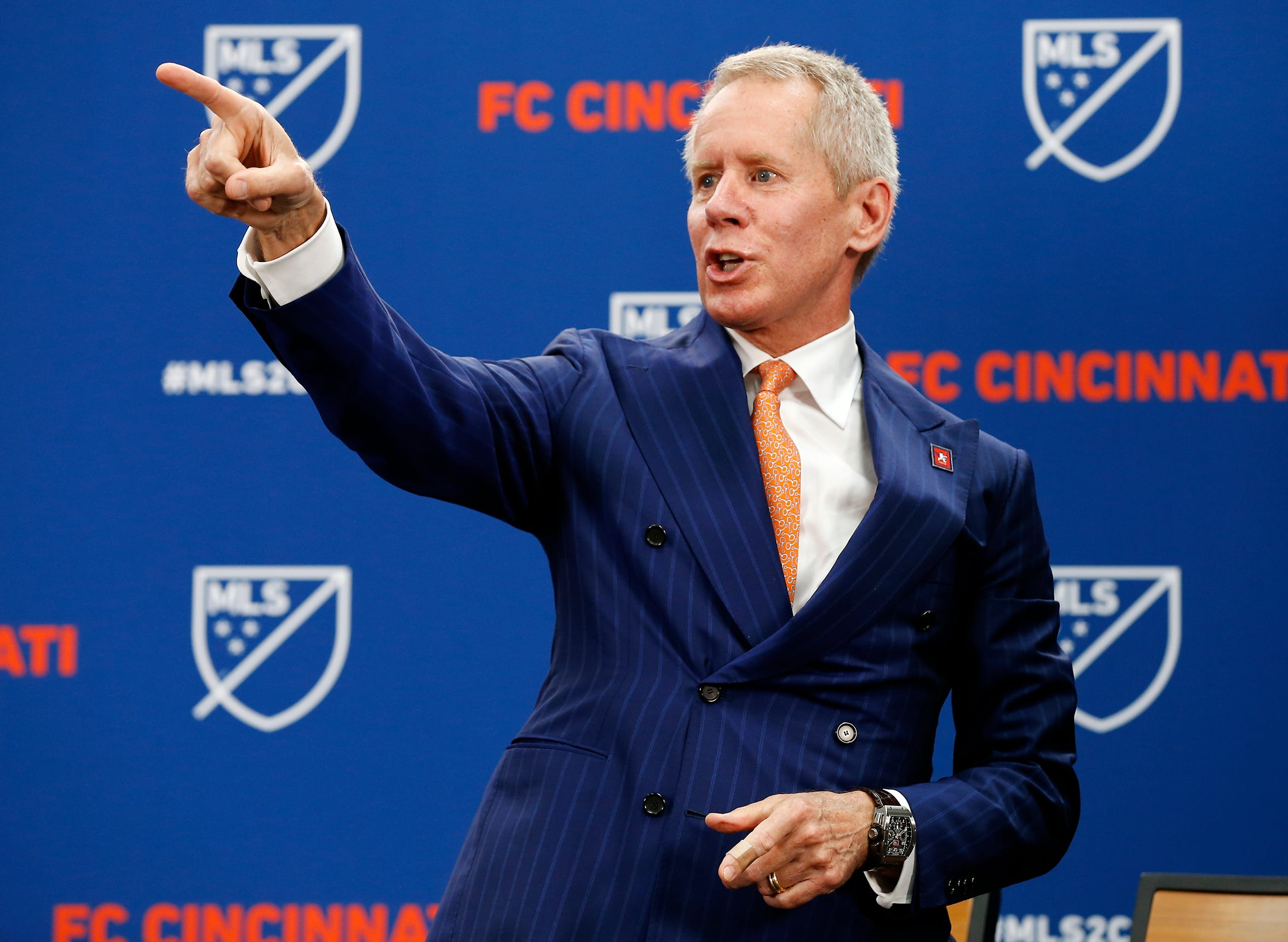 Lindner thanks the crowd as FC Cincinnati was announced as an MLS expansion team in May.