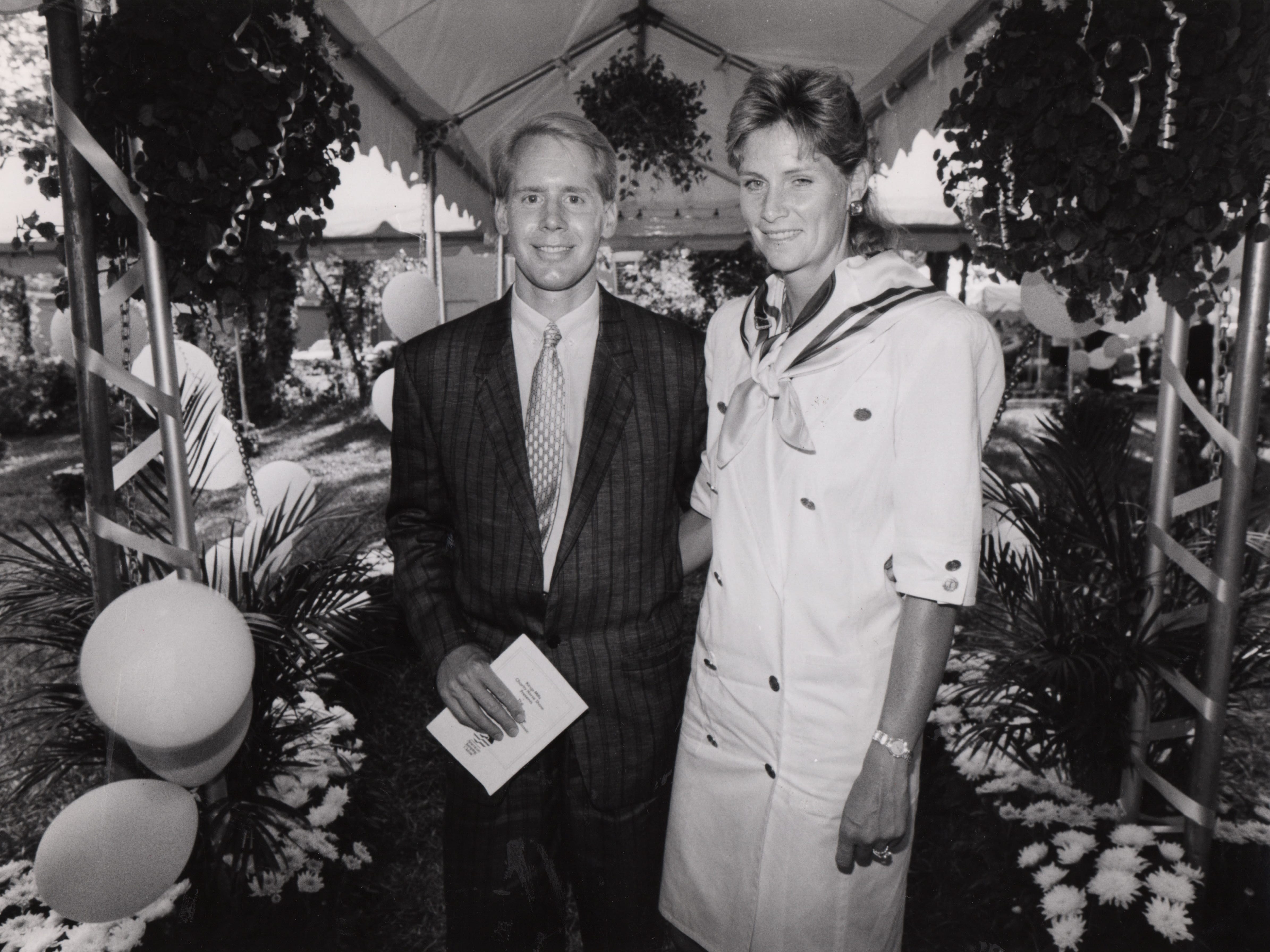 Chairman of the American Jumping Classic Carl Lindner III and his wife, Martha, enjoy the party in 1988.