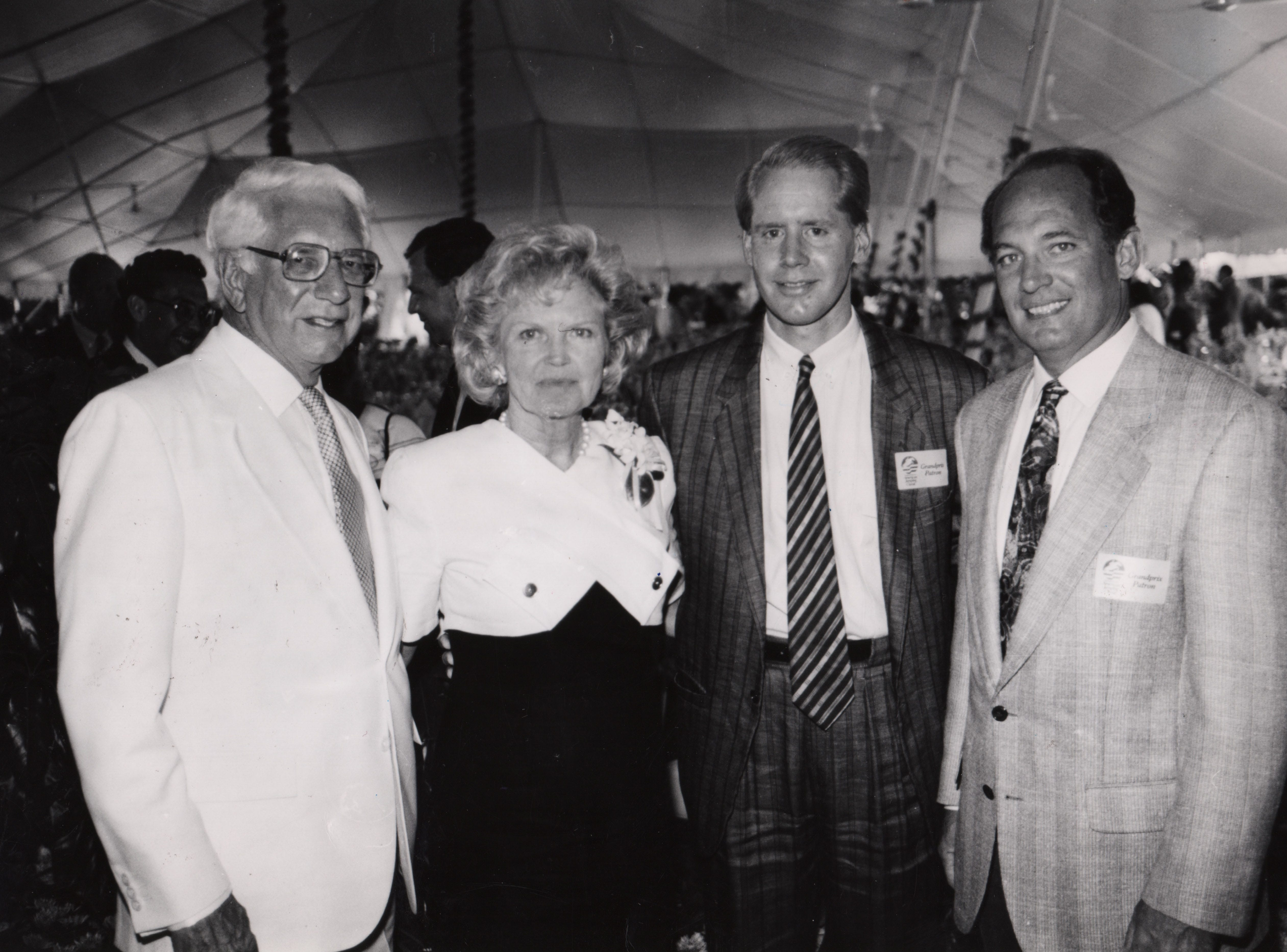 At the American Jumping Classic in 1991 (from left): Carl Lindner Jr., Edith Lindner, Carl Lindner III and AJC president Roy Kuhnell.