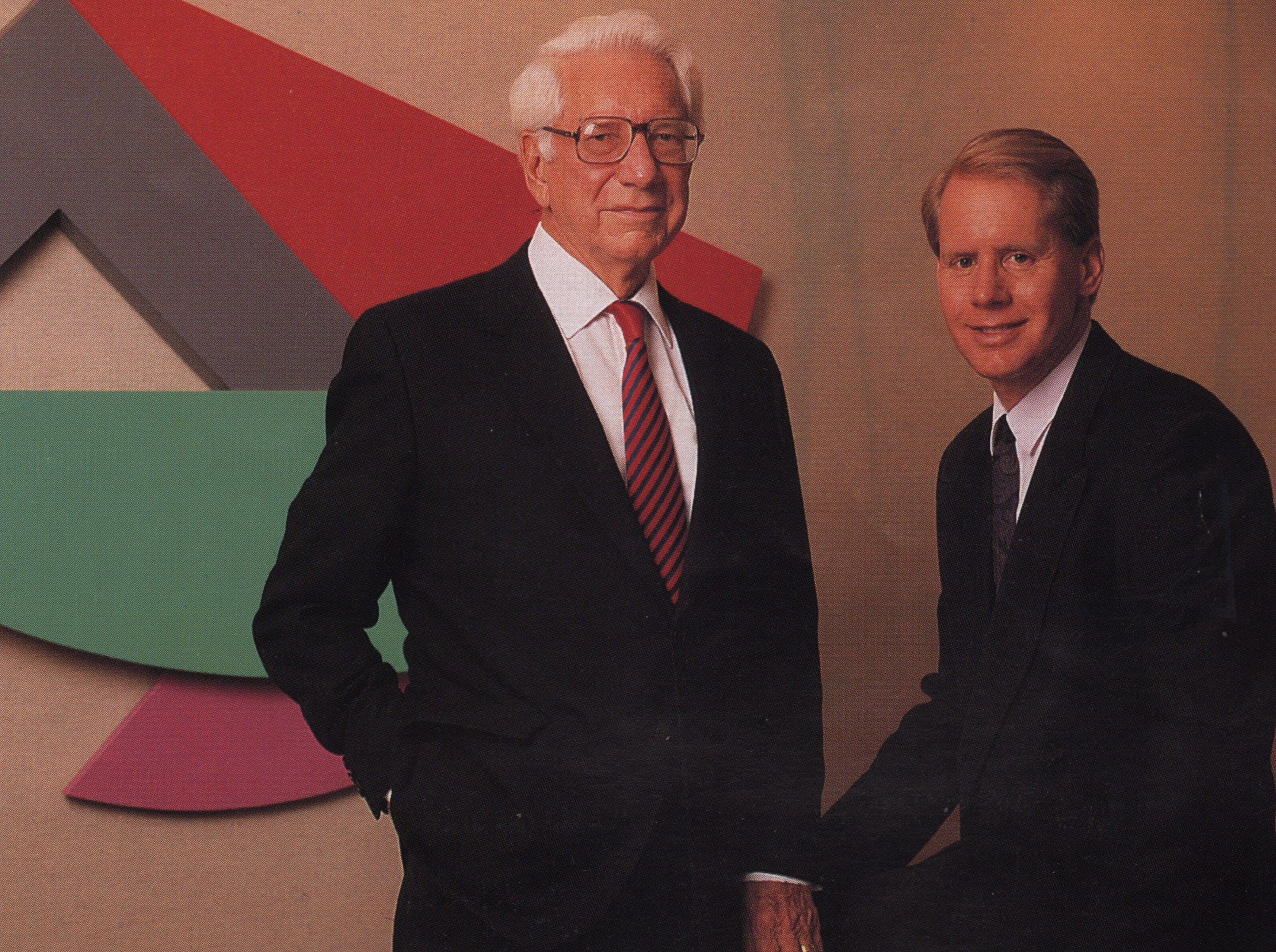 Father and son headed Great American Insurance in 1993: Carl H. Lindner Jr. (left), chairman of the board and executive officer, and Carl H. Lindner III, president and chief operating officer.
