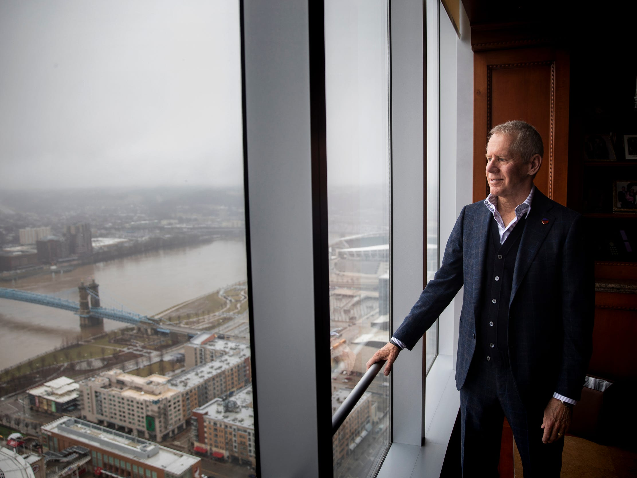 Carl Lindner III poses for a portrait in his office on the 41st floor of Great American Tower at Queen City Square in Downtown Cincinnati Wednesday, February 20, 2019. Lindner is the co-chief executive officer of American Financial Group and majority owner of FC Cincinnati.