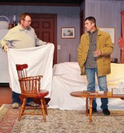"""Leonard Hayhurst and Jeff Wherley rehearse a scene from """"Beer for Breakfast"""" opening Friday at the Triple Locks Theater. Performances are at 8 p.m. the next three Fridays and Saturday and 2 p.m. March 10. Tickets are $12 for adults and $7 for students."""