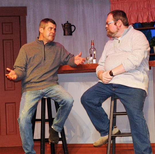 """Jeff Wherley and Leonard Hayhurst rehearse a scene from """"Beer for Breakfast"""" opening Friday at the Triple Locks Theater. Wherley plays TJ, who is recently divorced, and Hayhurst plays Mark, who recently lost his job."""