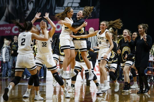 Southeast Polk reacts after defeating Ankeny Centennial 61-56 in overtime during their first round basketball game on Monday, Feb. 25, 2019 in Des Moines.