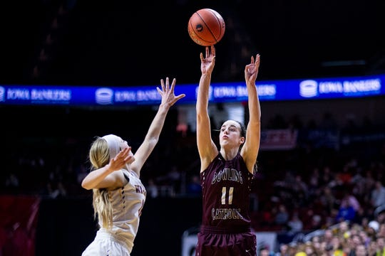 Dowling's Caitlin Clark shoots the ball during the Class 5A Iowa girls' state basketball tournament quarterfinal between Dowling Catholic and Waukee on Monday, Feb. 25, 2019, in Wells Fargo Arena.